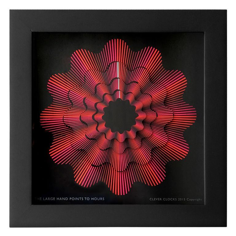 Cleverclocks Moderne Dekorative Design Tischuhrwanduhr Red Ribbon Größe L 30 Cm X 30 Cm