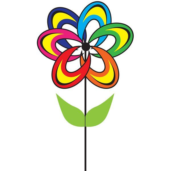 Windrad/stehendes Windspiel Blume Magic Fantasy Rotordurchmesser 38 cm x 93 cm rainbow