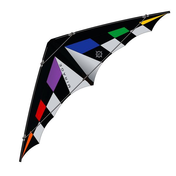 Elliot Mirage XL - Zweileiner-Power-Lenkdrachen/Stabdrachen (2-Leiner KITE ONLY - 310 cm x 110 cm, Cfk-Rohr 8/10 mm, rainbow/schwarz/weiß