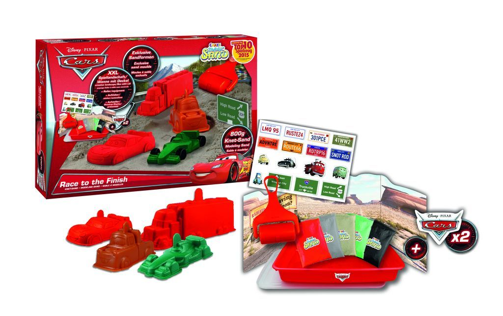 "Craze Magic Sand - ""Cars Race""-Set, 800 g Magic Sand Spielwanne und Set Sandförmchen, 5 Farben"