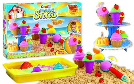 Craze Magic Sand - Icecream & Bakery-Set, 700 g Magic Sand, Spielwanne, Etagere und 10 Sandförmchen, 4 Farben