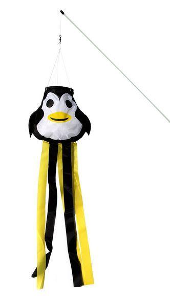 Elliot Peppi Pinguin fröhliche Windrabauken (Windsack/Windfänger), 16cm x 14cm x 60cm, schwarz/weiß/gelb
