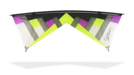 Revolution NYM 1.5 with Reflex (Standard) Vierleiner-Lenkdrachen/Stabdrachen (4-Leiner) KITE ONLY - 236 cm x 79 cm lime/purple
