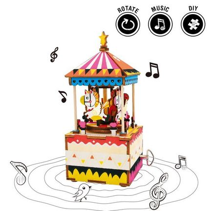 "Robotime - DIY Music Box - Merry-Go-Round (DIY-Spieluhr 7.3 x 8 x 17 cm) Karussell-Spieluhr - Lied ""You Are My Sunshine"" (Holzbausatz)"