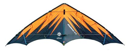 Elliot Gladiator 3.4 - Zweileiner-Power-Lenkdrachen/Stabdrachen (2-Leiner), KITE ONLY - 325 cm x 127 cm, Cfk-Rohr 10/12 mm, schwarz/orange
